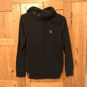 Naketano black hoodie pullover funnel neck